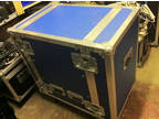 Full tour spec 16U flight case on wheels blue rackstrip